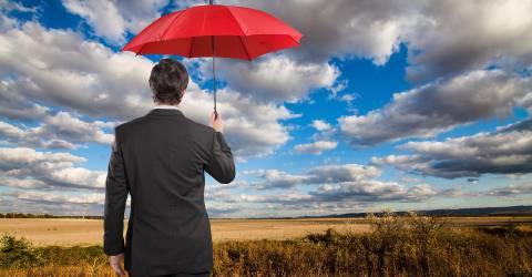 Zakelijke Verzekeringen, schade zakelijk, verzekeringen, man, zakenman, paraplu, landschap